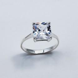 Stříbrný prsten s kameny BÍLÝ