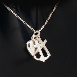 Stříbrný přívěsek srdce, kotva, kříž