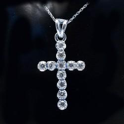 Stříbrný přívěsek kříž s kameny 2