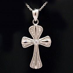 Stříbrný přívěsek kříž s kameny 3