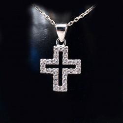 Stříbrný přívěsek kříž s kameny