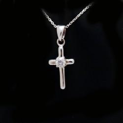 Stříbrný přívěsek kříž s kameny 11